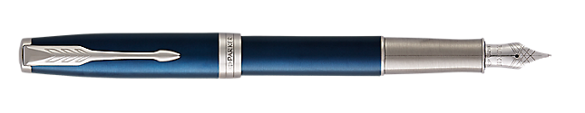 Sonnet Lacquered Blue Fountain Pen With Chrome Trim Medium Nib