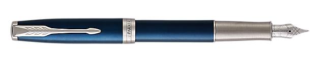 Sonnet Lacquered Blue Fountain Pen With Chrome Trim Medium Nib