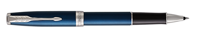 Sonnet Lacquered Blue Rollerball Pen With Chrome Trim Fine Point