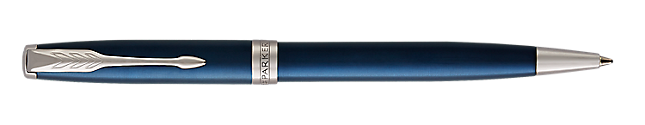 Sonnet Lacquered Blue Retractable Ballpoint Pen With Chrome Trim Medium Point