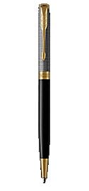 Sonnet Silver Retractable Ballpoint Pen With Ciselé Pattern & Gold Trim Medium Point