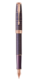 Sonnet Silver & Purple Fountain Pen With Ciselé Matrix Pattern & Pink Gold Trim Fine Nib