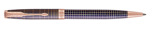 Sonnet Silver & Purple Retractable Ballpoint Pen With Ciselé Matrix Pattern & Pink Gold Trim Medium Point