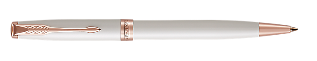 Sonnet Lacquered Pearl Retractable Ballpoint Pen With Pink Gold Trim Medium Point