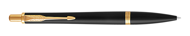 Urban Muted Black Gold Retractable Ballpoint Pen With Gold Trim Medium Point