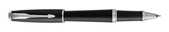 Urban Muted Black Chrome Rollerball Pen With Chrome Trim Fine Point