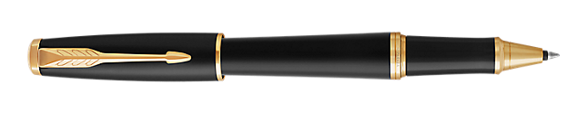 Urban Muted Black Gold Rollerball Pen With Gold Trim Fine Point