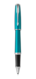 Urban Vibrant Blue Rollerball Pen With Chrome Trim Fine Point