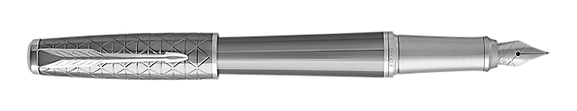 Urban Premium Powdered Silver Fountain Pen With Chrome Trim Fine Nib