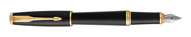 Urban Muted Black Gold Fountain Pen With Gold Trim Medium Nib