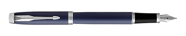 IM Blue Fountain Pen With Chrome Trim Medium Nib