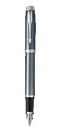 IM Light Blue & Grey Fountain Pen With Chrome Trim Medium Nib