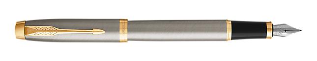 IM Brushed Metal Fountain Pen With Gold Trim Medium Nib