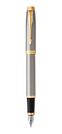 IM Brushed Metal Fountain Pen With Gold Trim Medium Nib