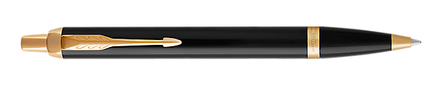 IM Black Gold Retractable Ballpoint Pen With Gold Trim Medium Point
