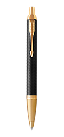 IM Premium Black Gold Retractable Ballpoint Pen With Gold Trim Medium Point