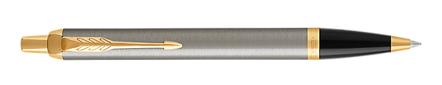IM Brushed Metal Retractable Ballpoint Pen With Gold Trim Medium Point