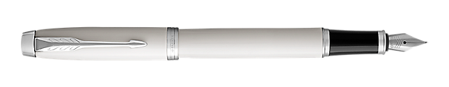 IM White Fountain Pen With Chrome Trim Medium Nib