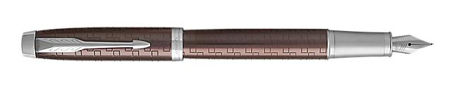 IM Premium Brown Fountain Pen With Chrome Trim Medium Nib