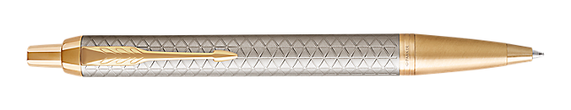 IM Premium Warm Silver Gold Retractable Ballpoint Pen With Gold Trim Medium Point
