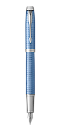 IM Premium Blue Fountain Pen With Chrome Trim Medium Nib