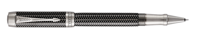 Duofold Prestige Black Rollerball Pen With Chevron Pattern & Chrome Trim Fine Point