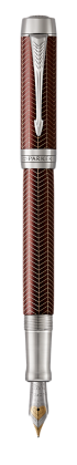 Image for Duofold Prestige Burgundy Chevron Fountain Pen - Medium nib from Parker UK