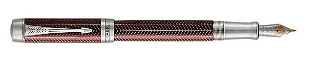Duofold Prestige Burgundy Fountain Pen With Chevron Pattern & Chrome Trim Fine Nib
