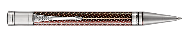 Duofold Prestige Burgundy Retractable Ballpoint Pen With Chevron Pattern & Chrome Trim Medium Point