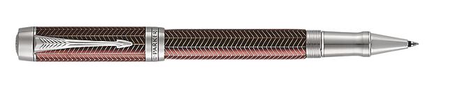 Duofold Prestige Burgundy Rollerball Pen With Chevron Pattern & Chrome Trim Fine Point