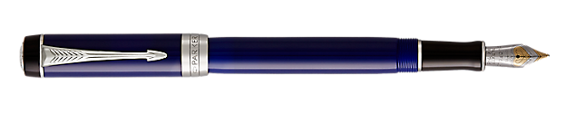 Duofold Classic Black & Blue Fountain Pen With Chrome Trim Medium Nib