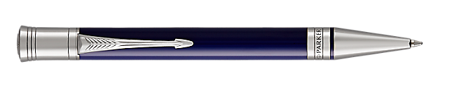 Duofold Classic Black & Blue Retractable Ballpoint Pen With Chrome Trim Medium Point