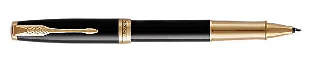 Sonnet Premium Lacquered Black Rollerball Pen With Gold Trim Fine Point
