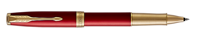 Sonnet Premium Lacquered Red Rollerball Pen With Gold Trim Fine Point