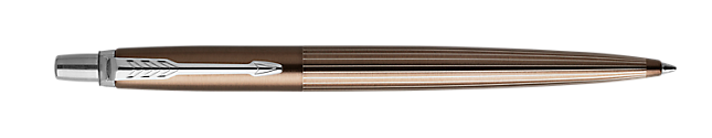 Jotter Premium Carlisle Pinstripe Brown Retractable Ballpoint Pen With Chrome Trim Medium Point