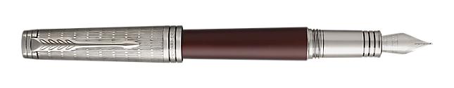 Premier Crimson Red Fountain Pen With Ruthenium Trim Medium Nib