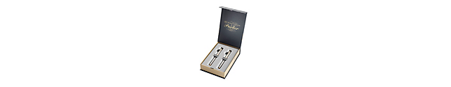 IM Brushed Metal Gold Trim Fountain Pen & Rollerball Duo Gift Set - 30% OFF