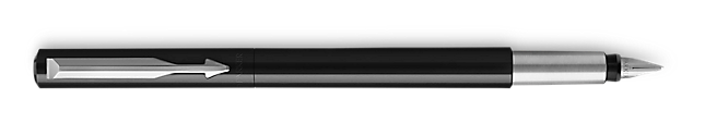 Parker Vector Black Fountain Pen, Chrome Colour Trim, Medium Nib, Blue Ink