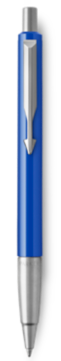 Parker Vector Blue Ballpoint Pen, Chrome Colour Trim, Medium Tip, Blue Ink