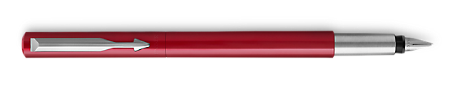 Parker Vector Red Fountain Pen, Chrome Colour Trim, Medium Nib, Blue Ink