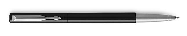 Parker Vector Black Roller Ball, Chrome Colour Trim, Medium Tip, Blue Ink