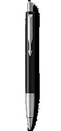 Parker Vector Black Ballpoint Pen, Chrome Colour Trim, Medium Tip, Blue Ink