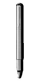 Parker Vector Stainless Steel Fountain Pen, Chrome Colour Trim, Fine Nib, Blue Ink