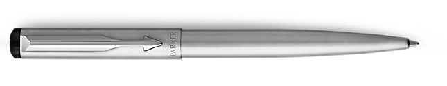 Parker Vector Stainless Steel Ballpoint Pen, Chrome Colour Trim, Medium Tip, Blue Ink