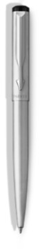 Parker Vector Stainless Steel Ballpoint Pen, Chrome Colour Trim, Medium Tip, Blue Ink