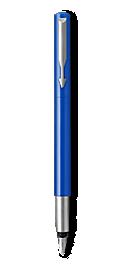Parker Vector Blue Fountain Pen, Chrome Colour Trim, Fine Nib, Blue Ink