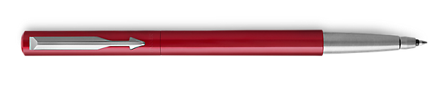 Parker Vector Red Roller Ball, Chrome Colour Trim, Medium Tip, Blue Ink