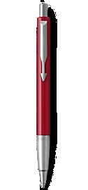 Parker Vector Red Ballpoint Pen, Chrome Colour Trim, Medium Tip, Blue Ink