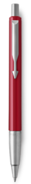 Parker Vector Red Ballpoint Pen, Chrome Colour Trim, Medium Tip, Blue Ink