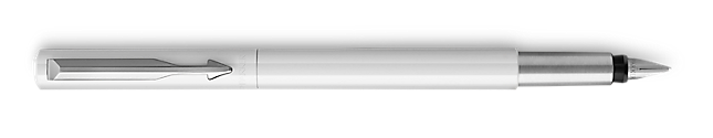 Parker Vector White Fountain Pen, Chrome Colour Trim, Fine Nib, Blue Ink